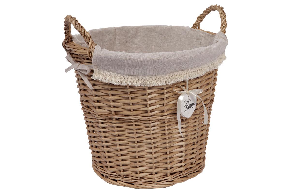 Košík, proutěná dekorace s látkou, barva přírodní