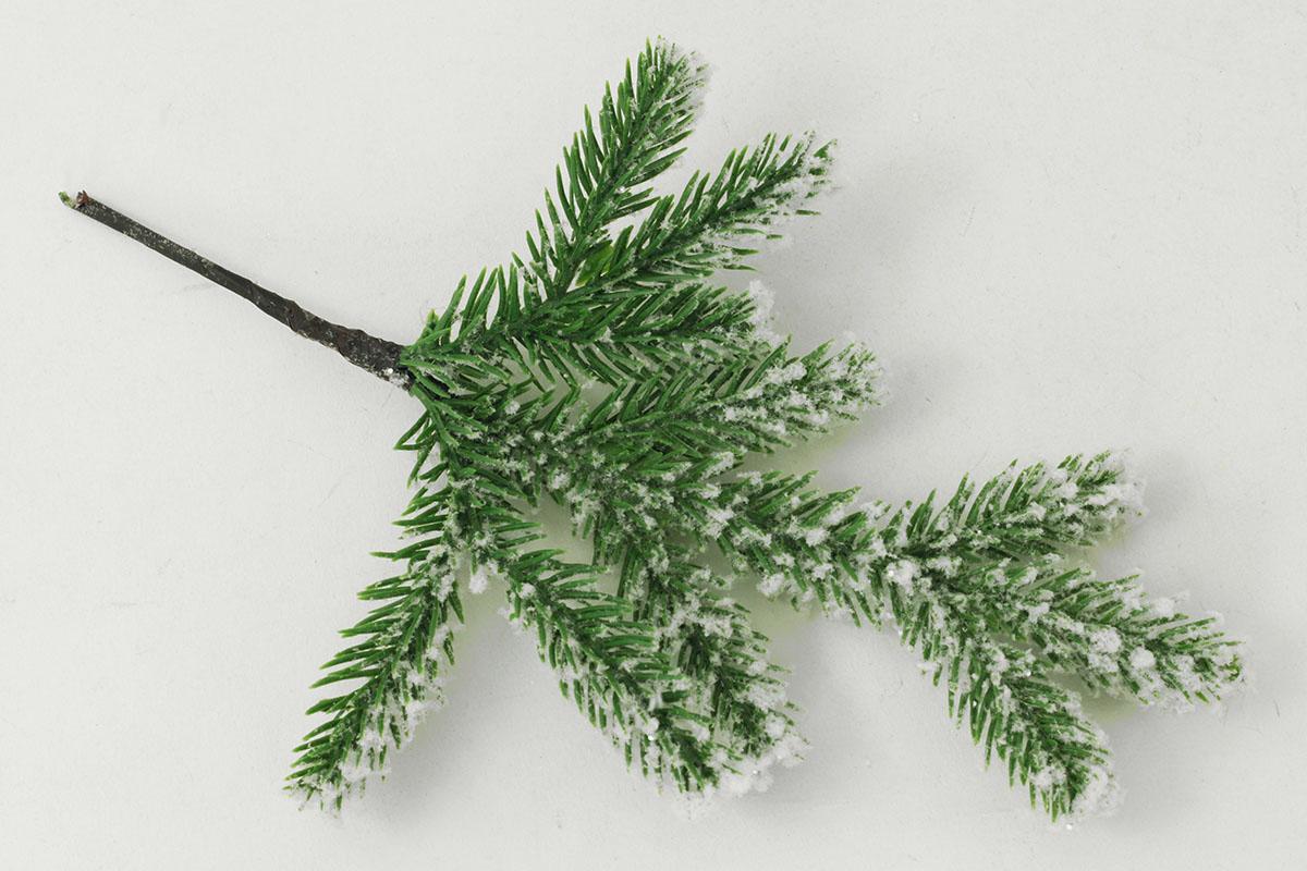 Větvička vánoční zasněžená, dekorační