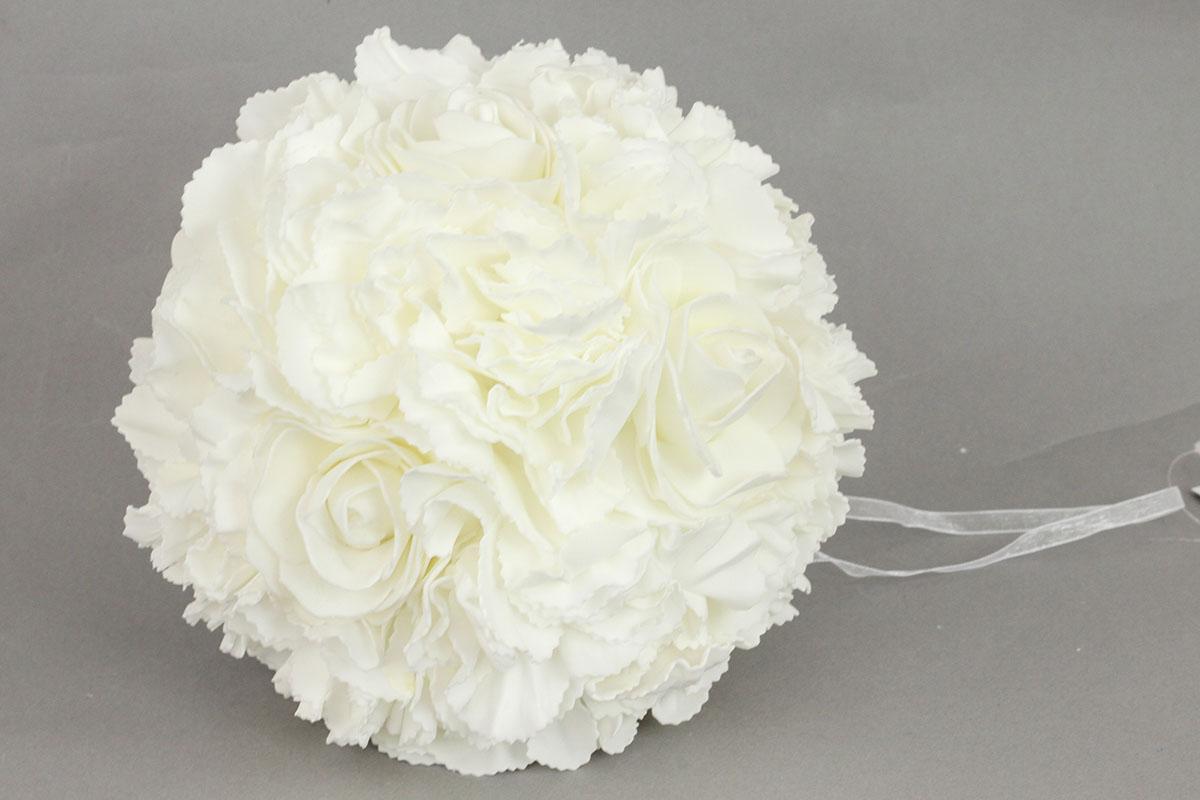 Guľa z penových ružičiek na zavesenie, farba biela