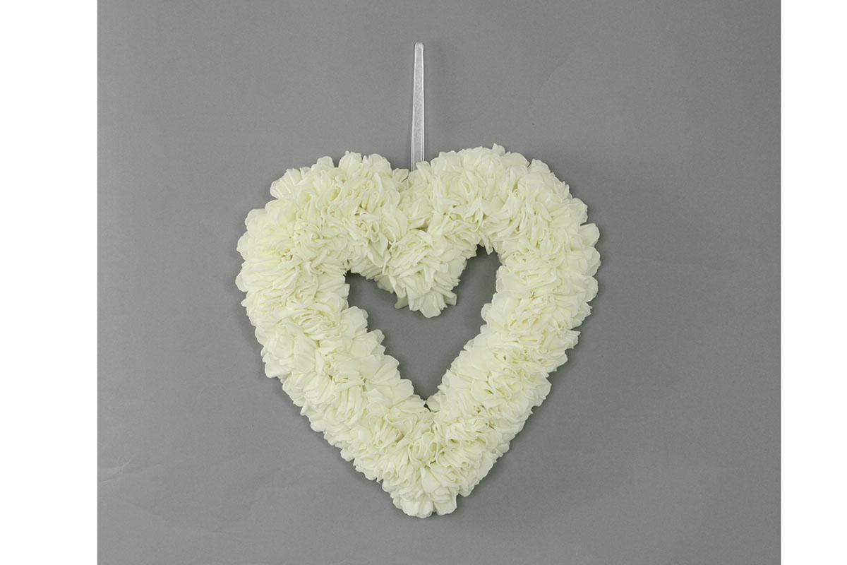 Srdce z penových ružičiek, biele