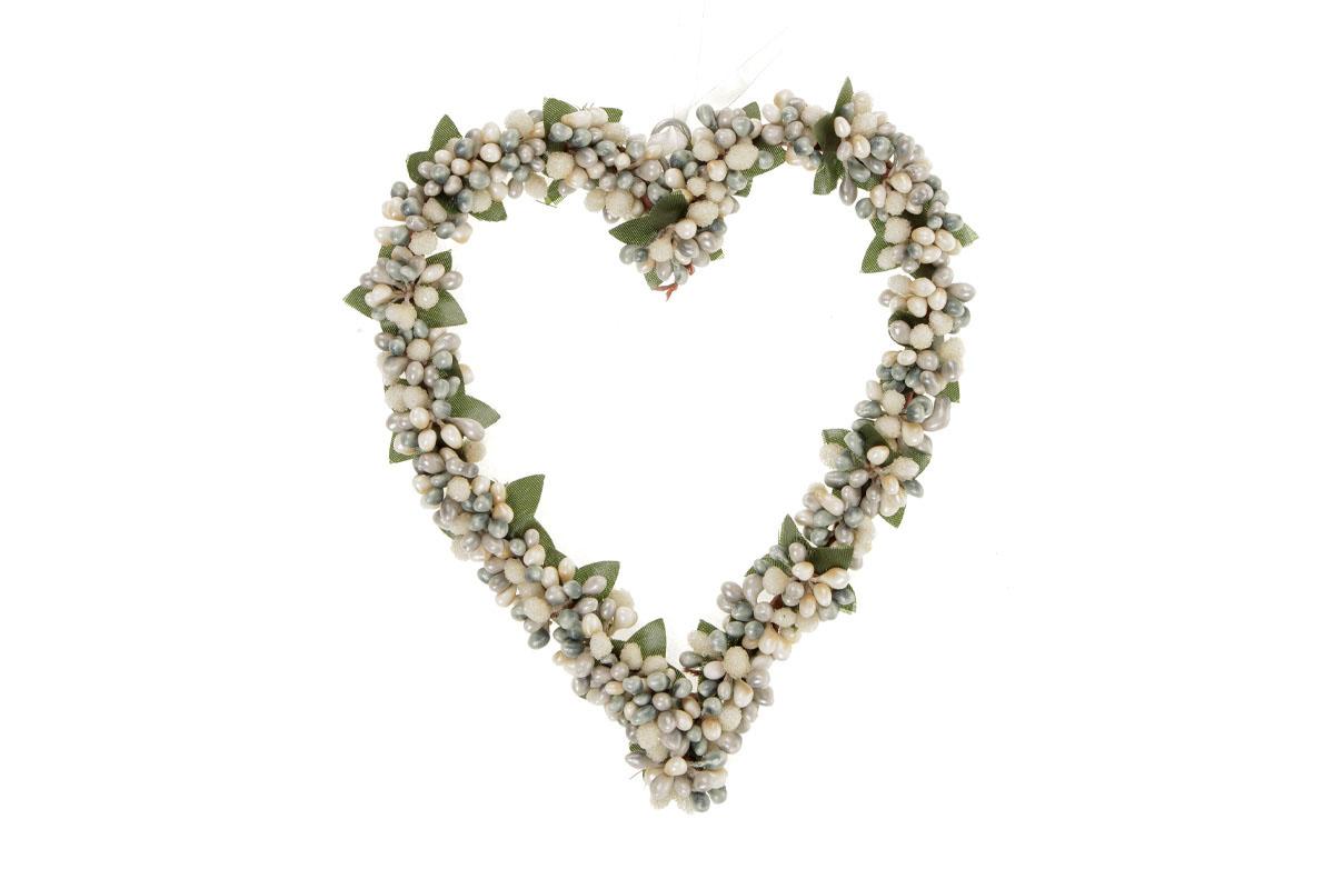 Srdíčko na zavěšení s bobulemi, barva zeleno-smetanová, umělá dekorace
