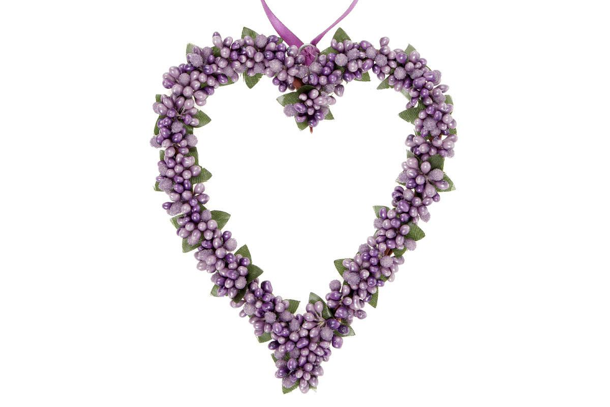 Srdíčko na zavěšení s bobulemi, barva lila, umělá dekorace