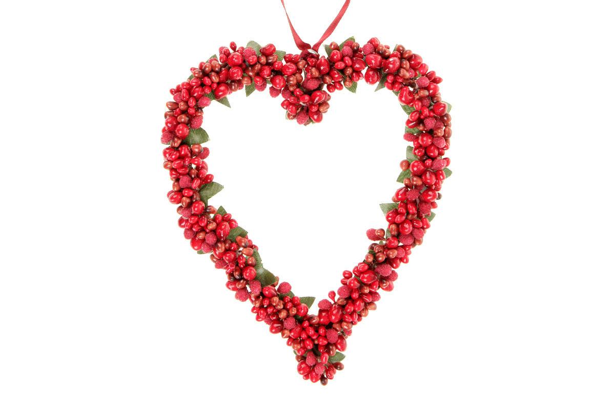 Srdíčko na zavěšení s bobulemi, barva červená, umělá dekorace