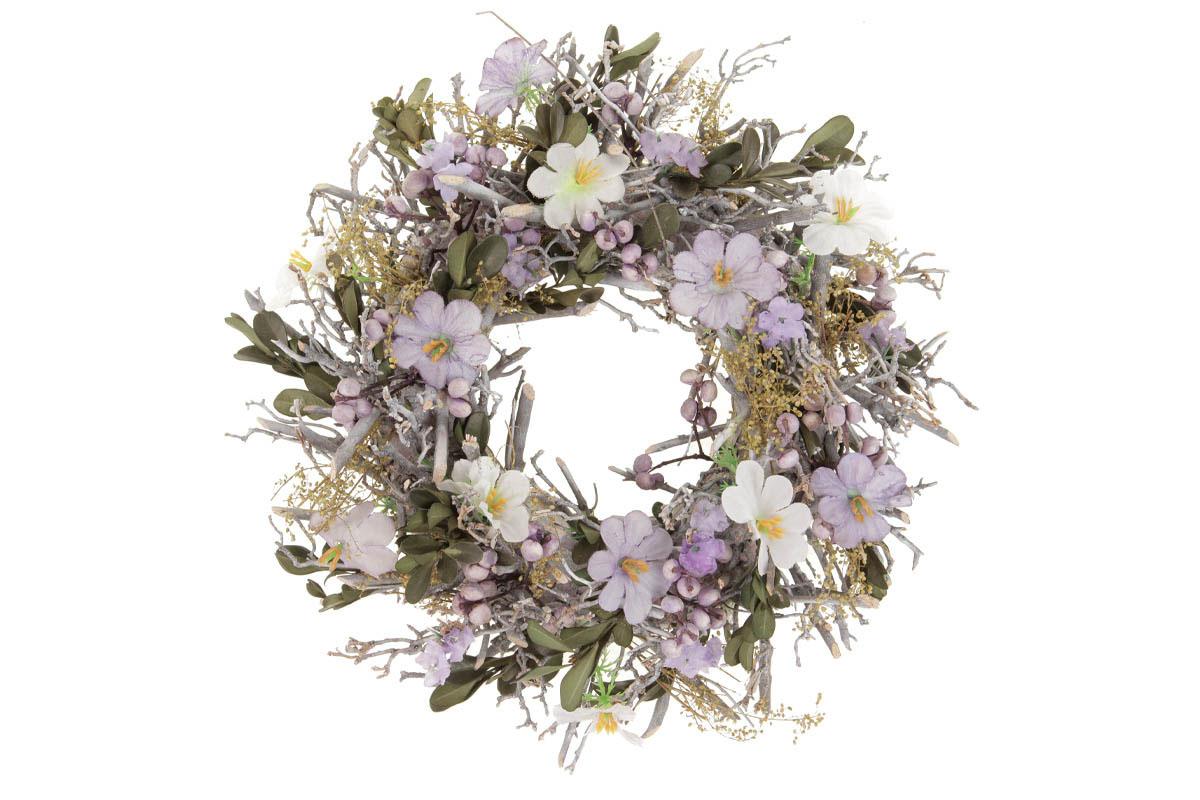 Věnec s klacíčky a květinami,  jarní dekorace