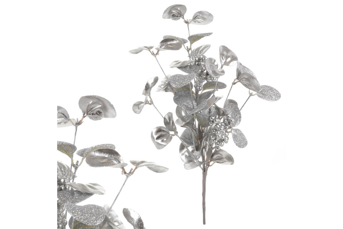 Větvička, vánoční umělá dekorace, barva stříbrná