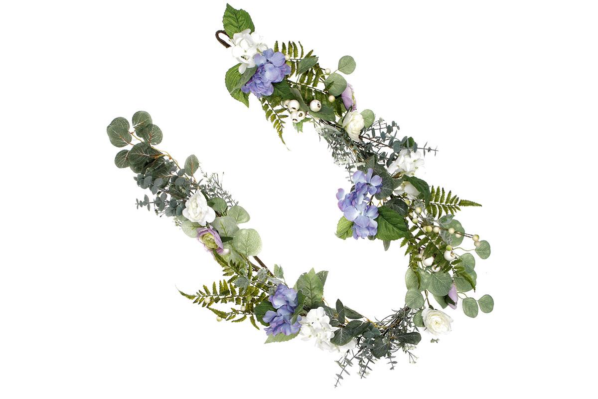 Girlanda květinová - hortenzie a ranunkulus.