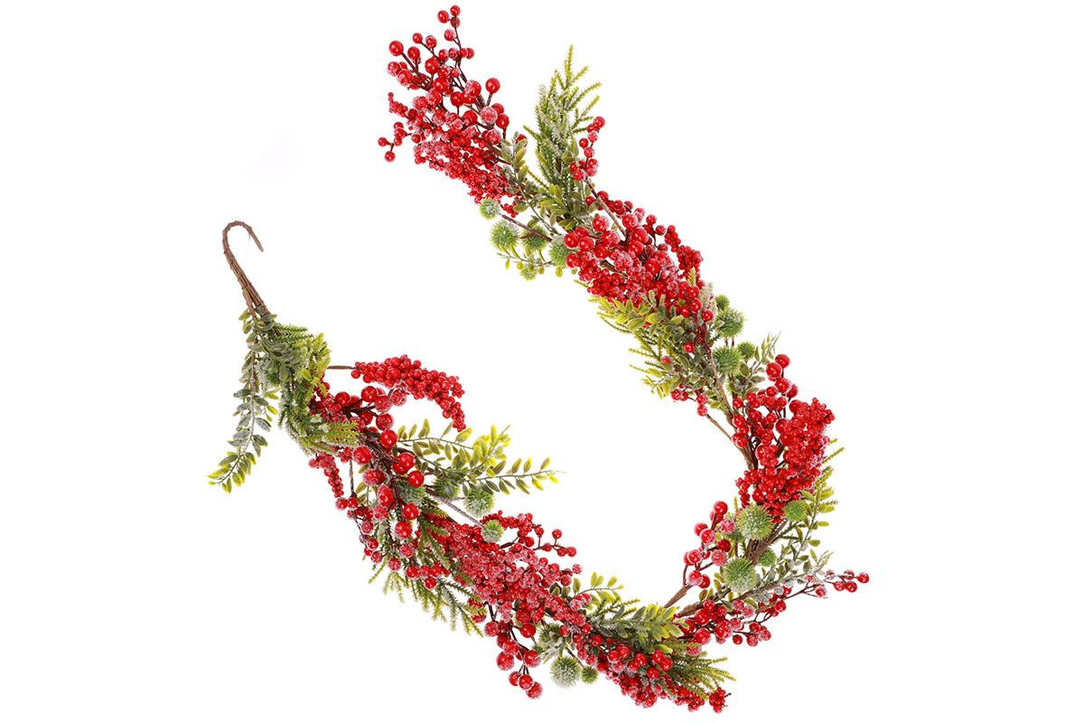 Girlanda ojíněná, červené jeřabiny a zelené větvičky