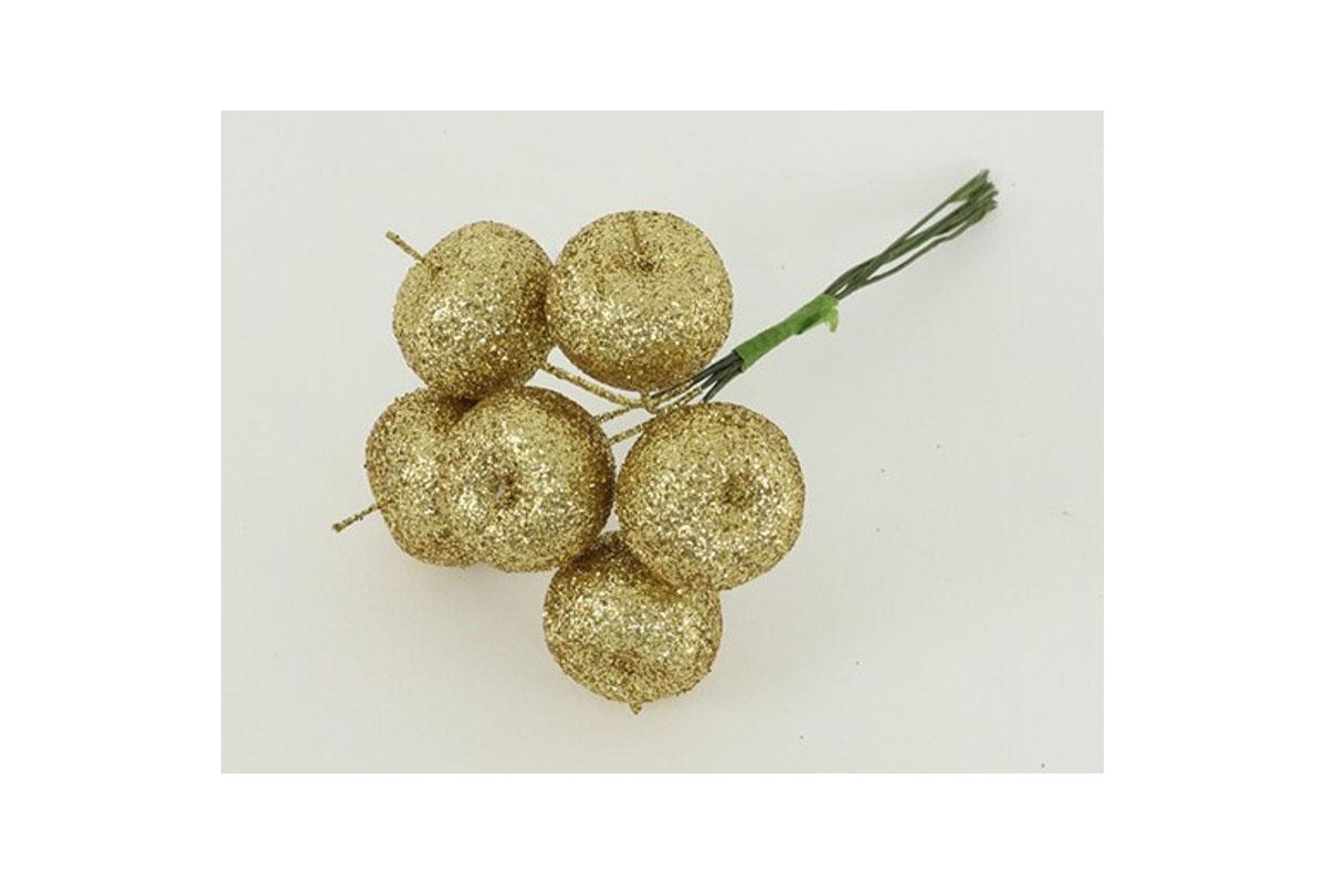 Jablíčko umělé na drátku zlaté ojíněné , cena za 6 kusů