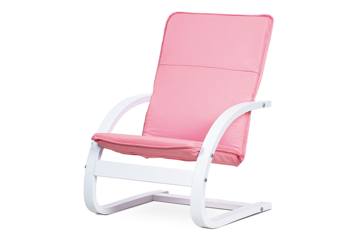 KID RELAX CHAIR, frame WHITE, fab.PINK
