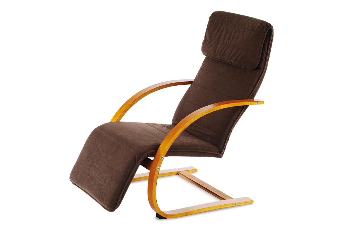 relax kreslo s výklopnou podnožou, čerešňa drevo, látka hnedá
