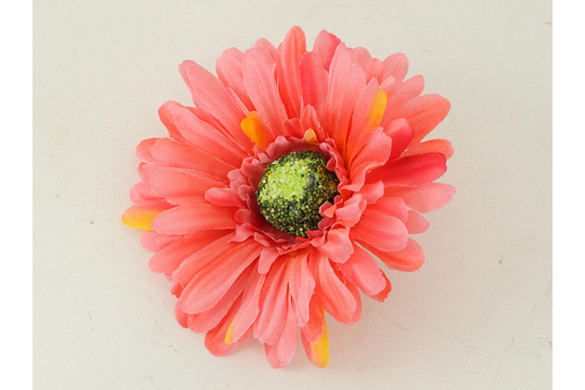 Květina vazbová, umělá gerbera, barva korálově růžová, cena za balení 12 kusů
