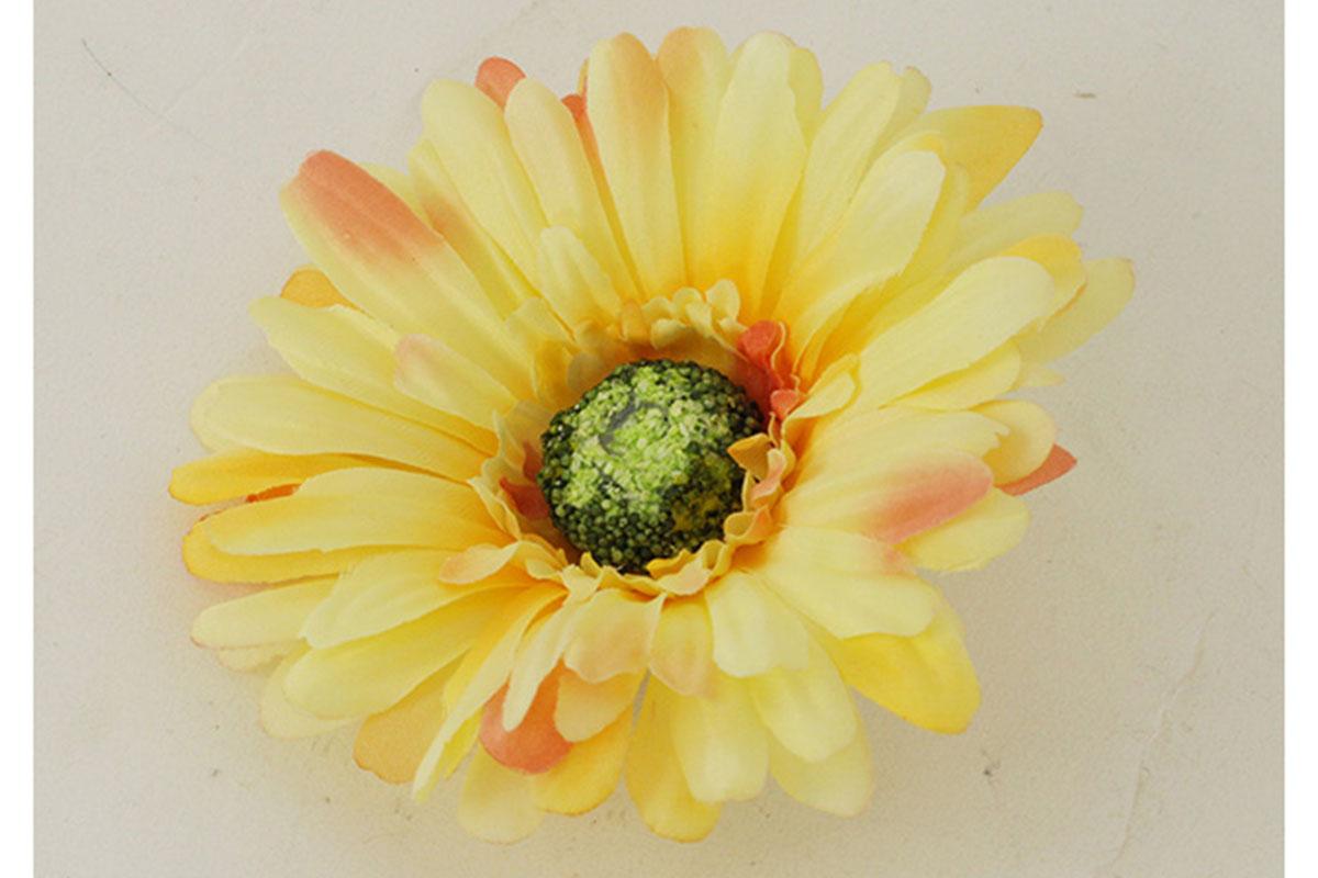Květina vazbová, umělá gerbera, barva žlutá, cena za balení 12 kusů