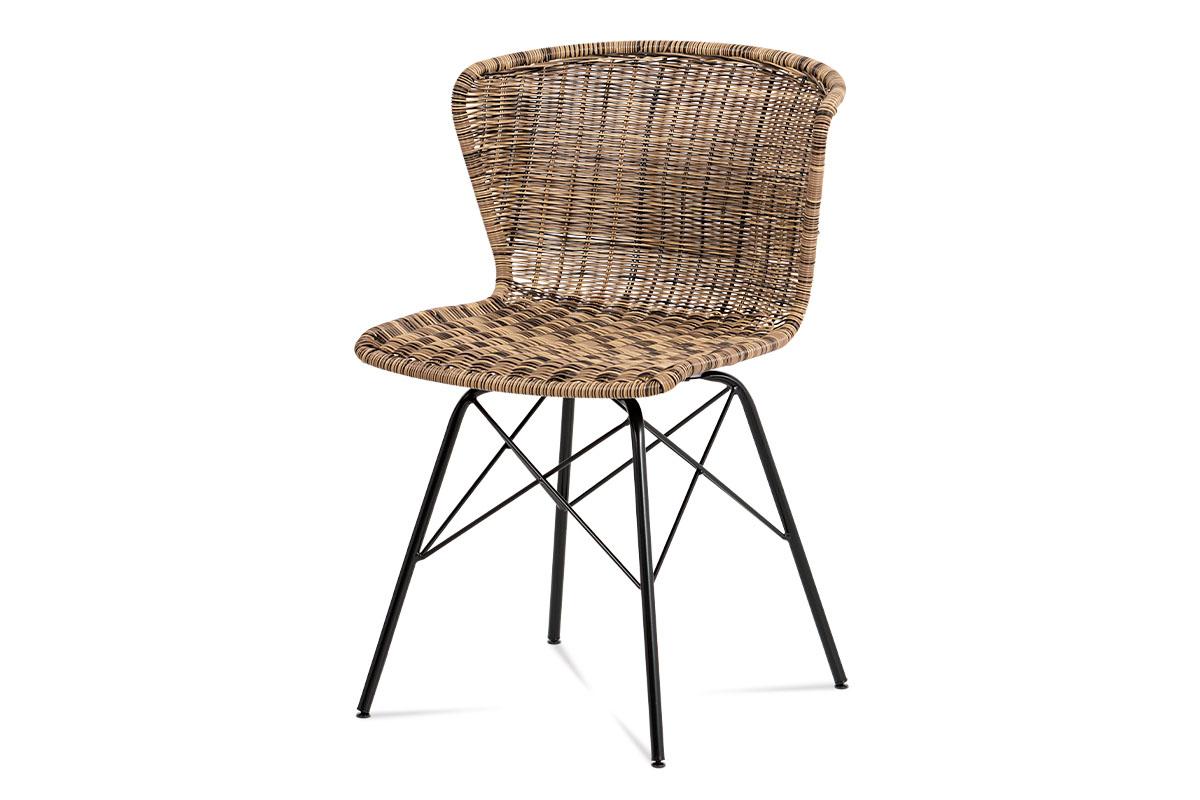 jedálenská stolička umelý ratan melír/ nohy čierny kov-SF-825 TRI