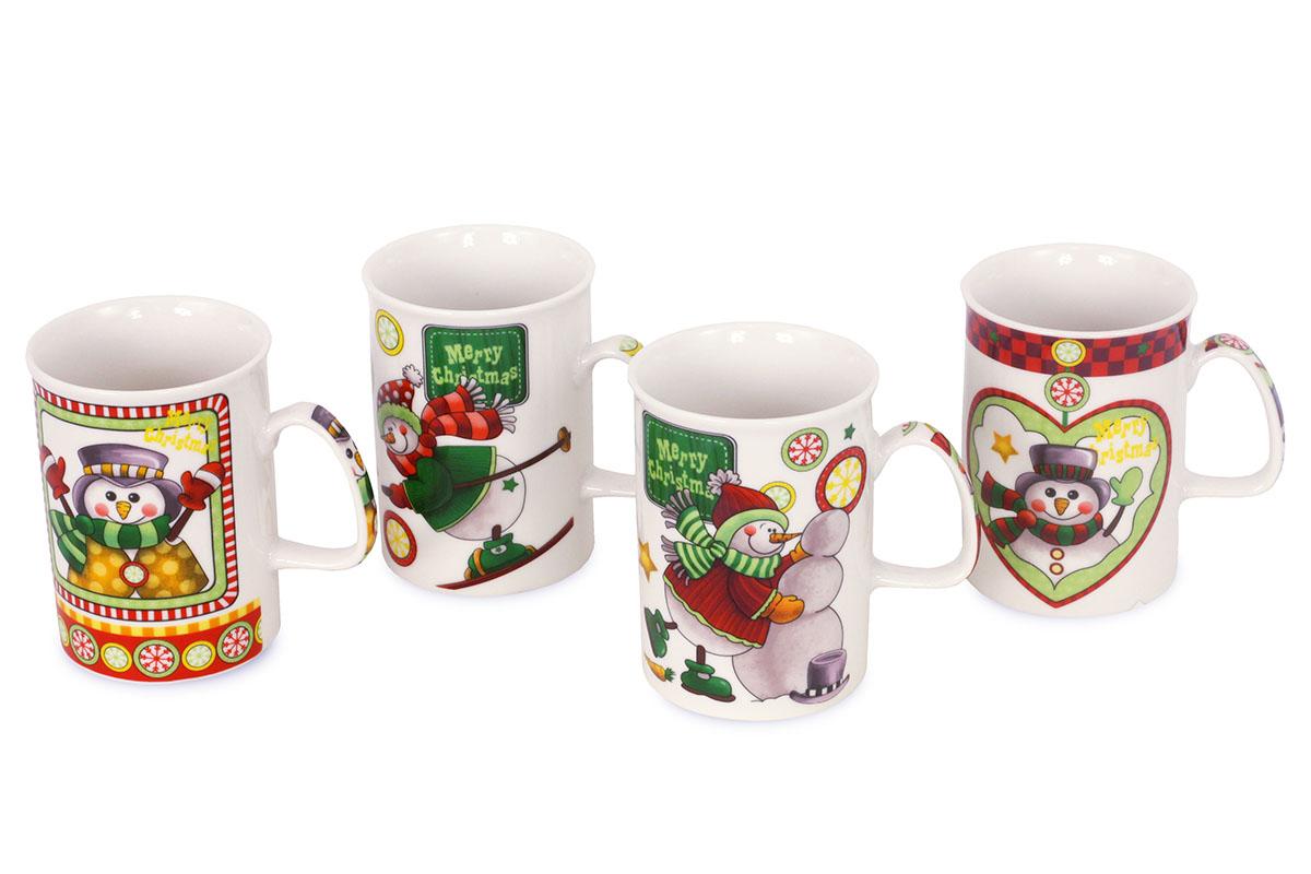 Porcelánový hrnček, mix 4 vianočných vzorov, cena za 1 kus, obsah 330 ml