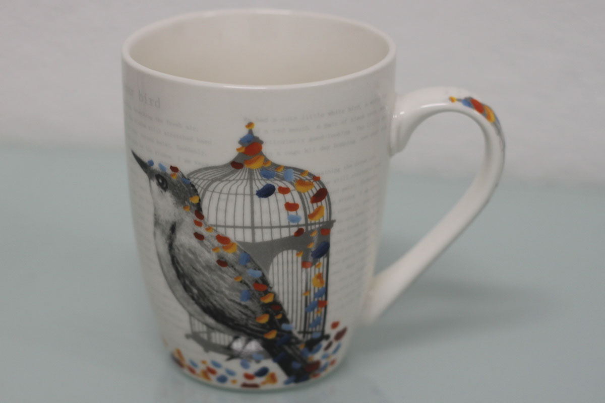 Hrnček keramický, vzor vtáčika, obsah 330 m