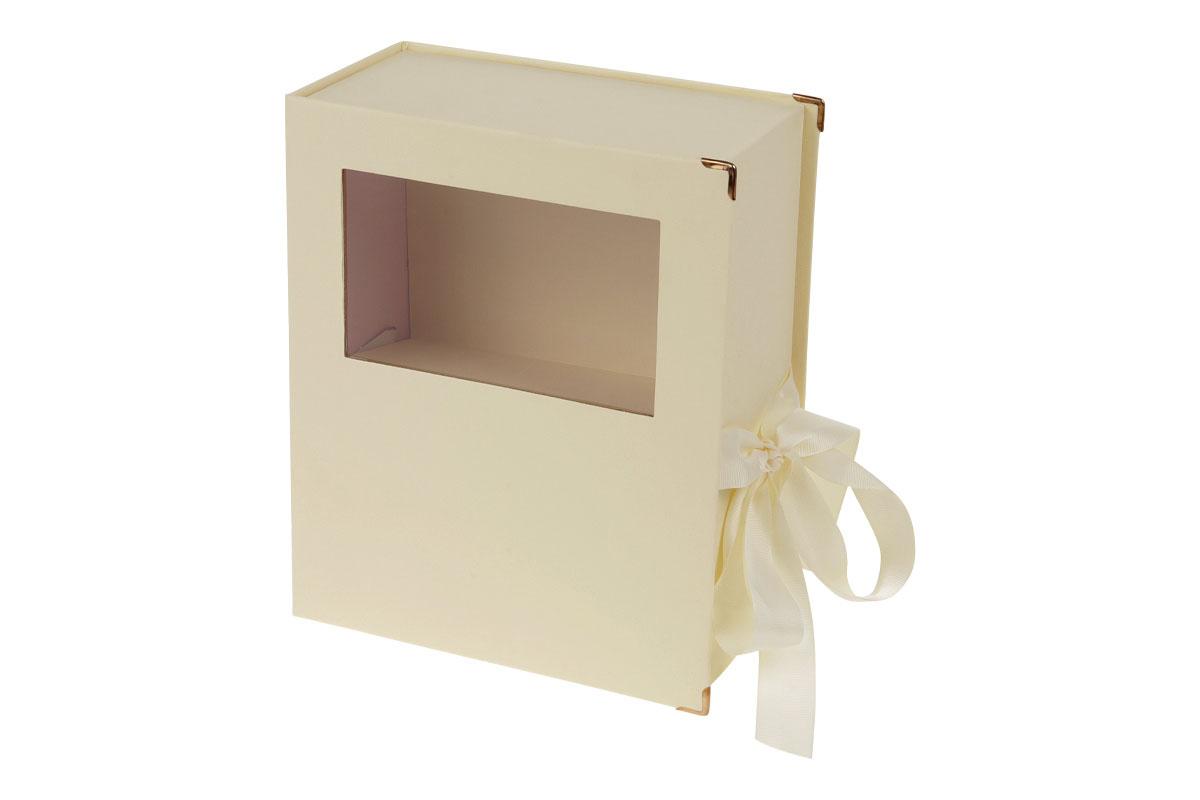 Kvetinový papierový box, farba krémová