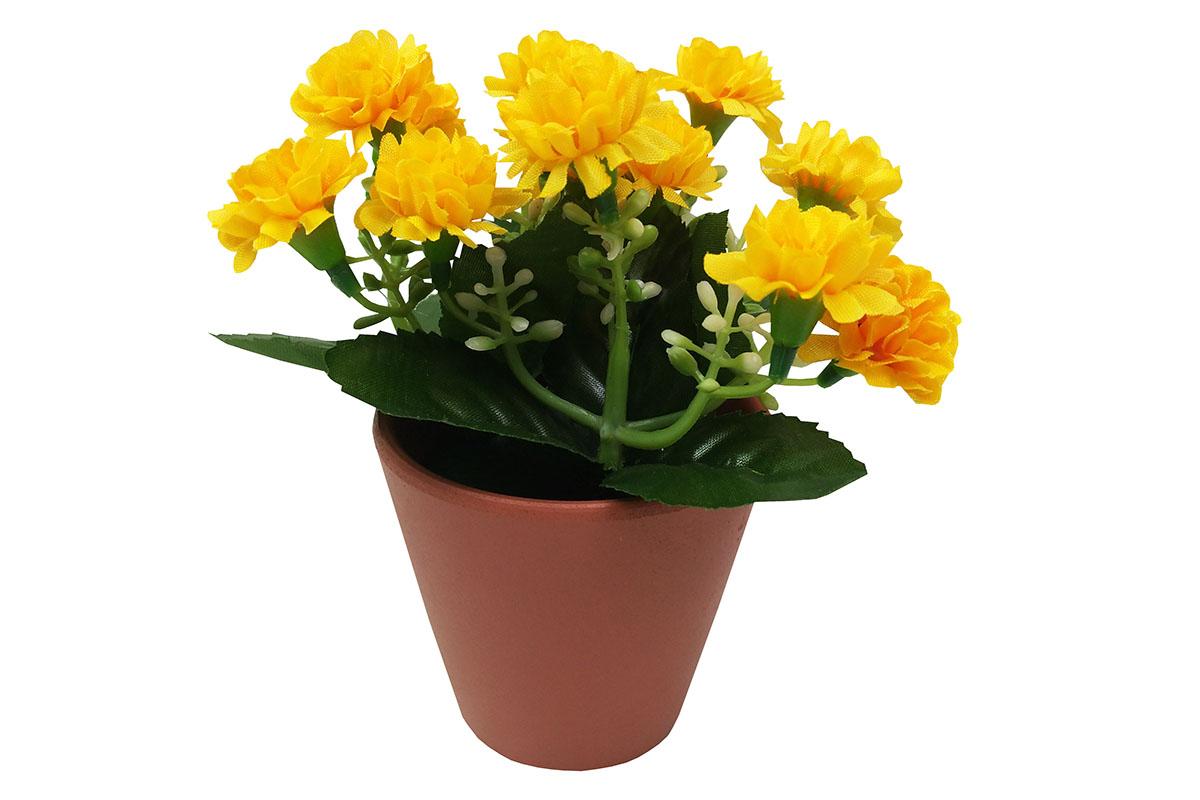 Karafiáty, umělé květiny  v keramickém květináči, barva žlutá