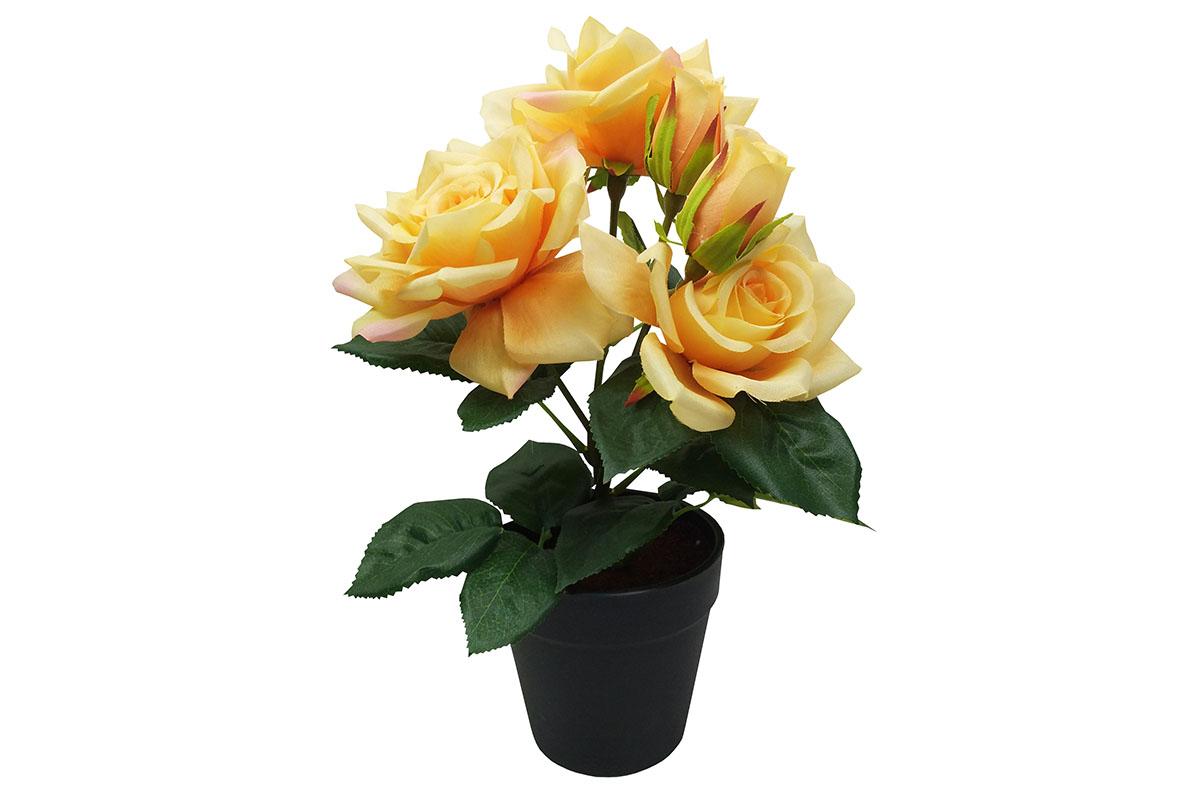 Růže , umělá květina v plastovém květináči, barva žlutá