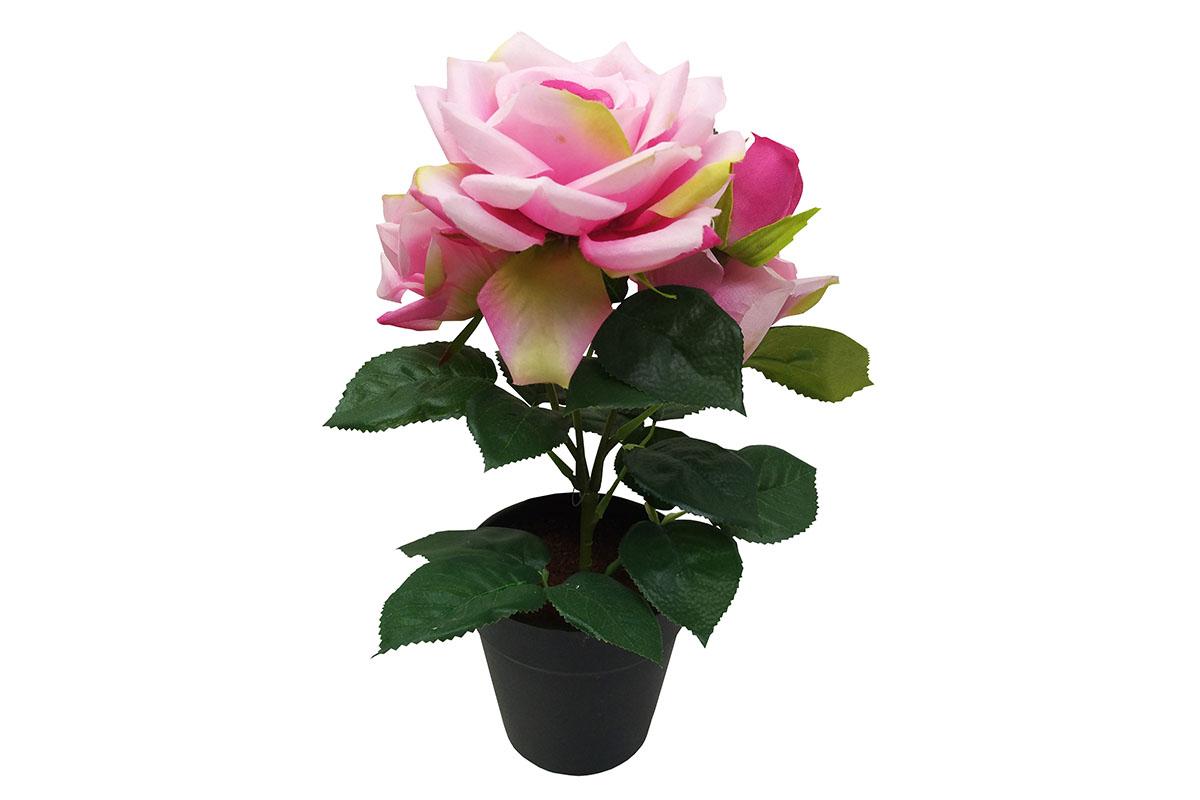 Růže , umělá květina v plastovém květináči, barva světle růžová