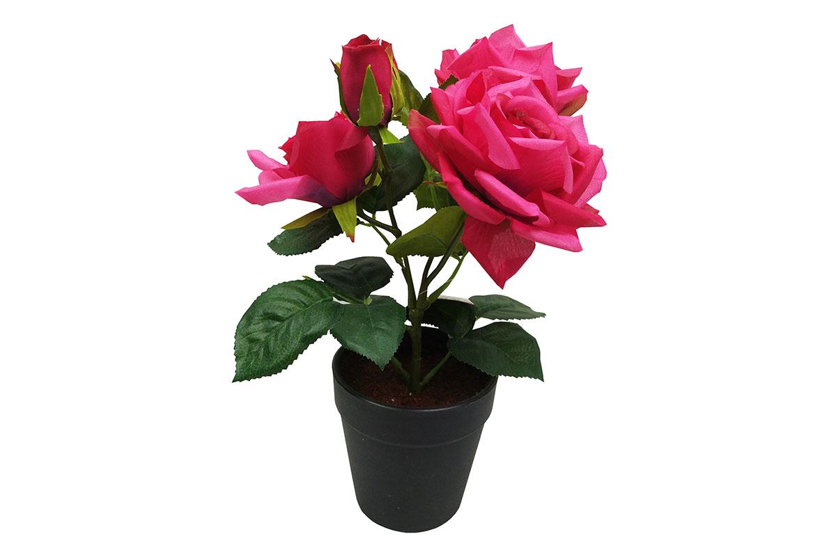 Růže , umělá květina v plastovém květináči, barva tmavě růžová