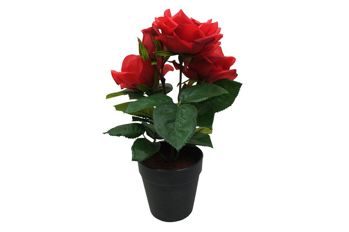 Růže , umělá květina v plastovém květináči, barva červená