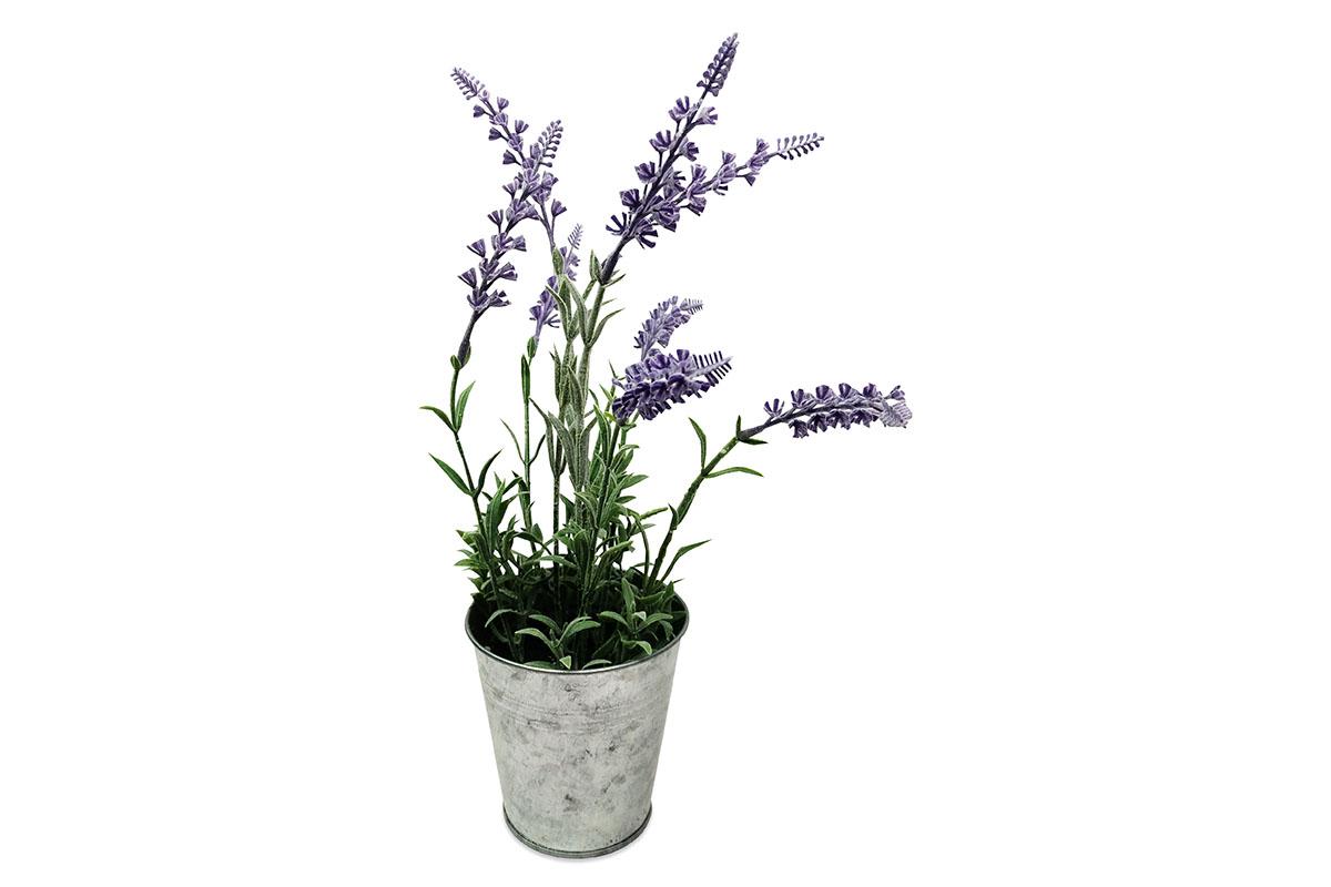 Levandule , umělá květina v kovovém květináči