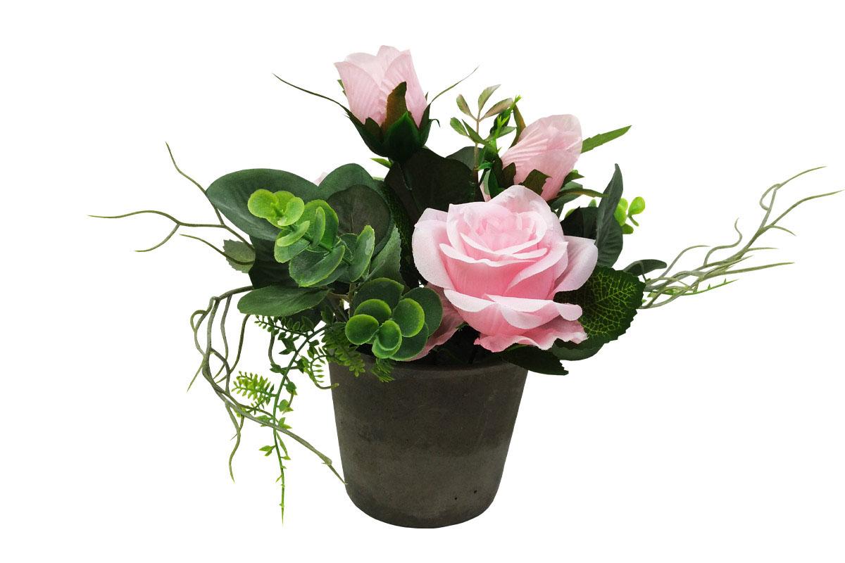 Růže , umělá květina v betonovém květináči, barva růžová