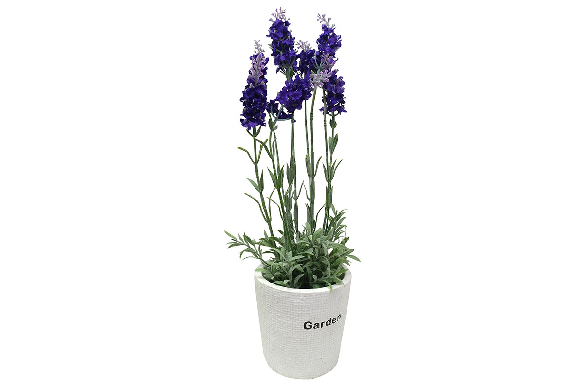 Levandule , umělá květina v betonovém květináči
