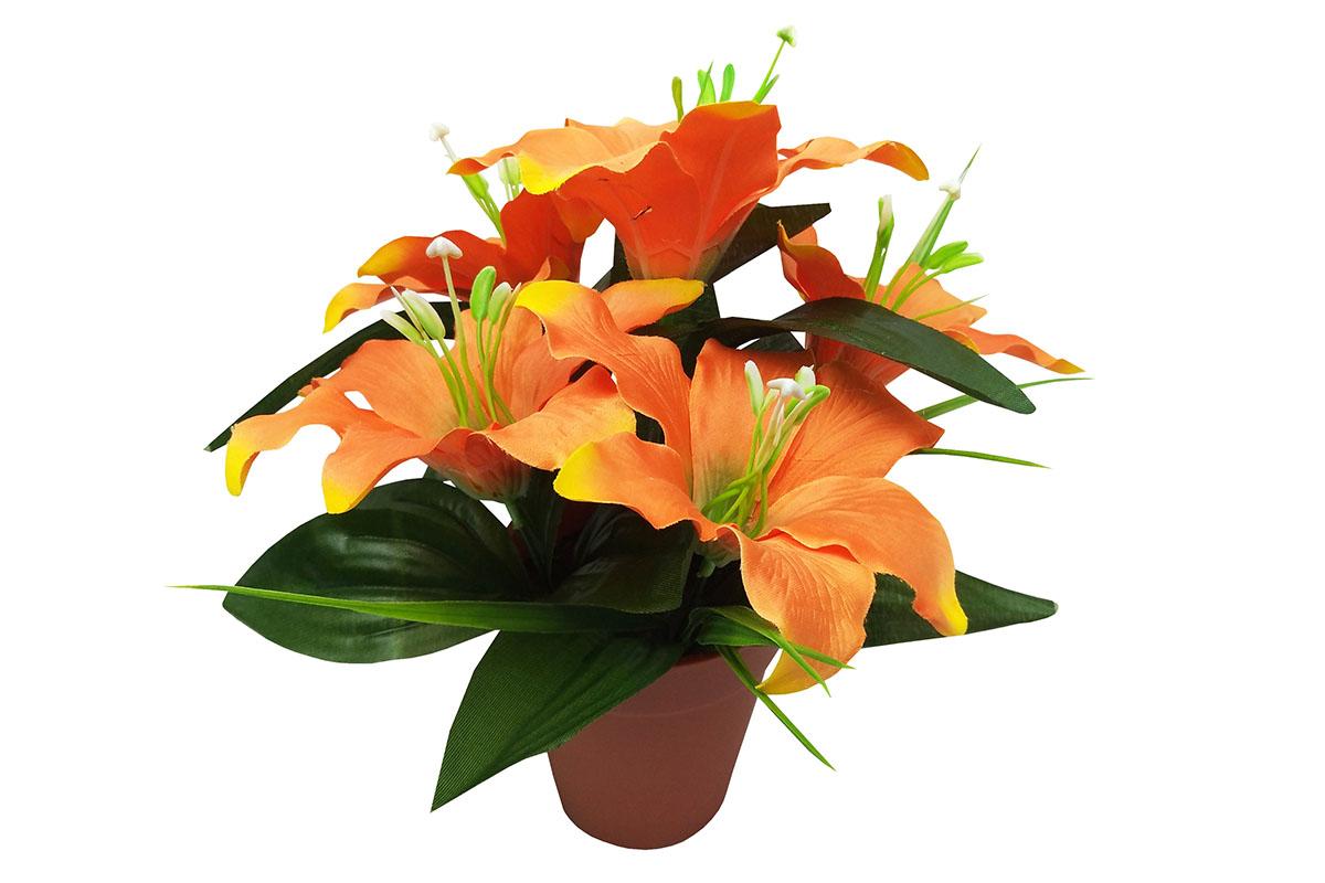 Lilie , umělá květina v plastovém květináči, barva oranžová