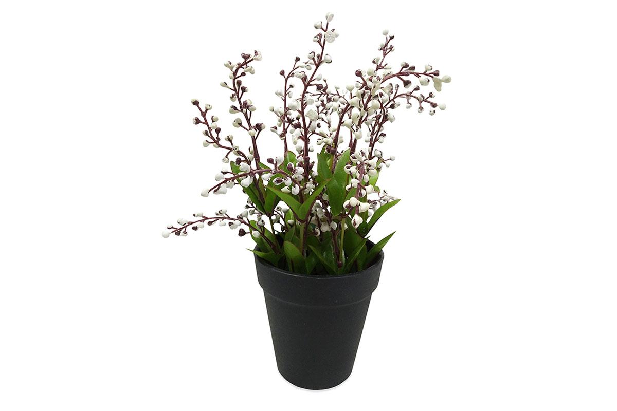 Vřes , umělá květina v plastovém květináči, barva bílá