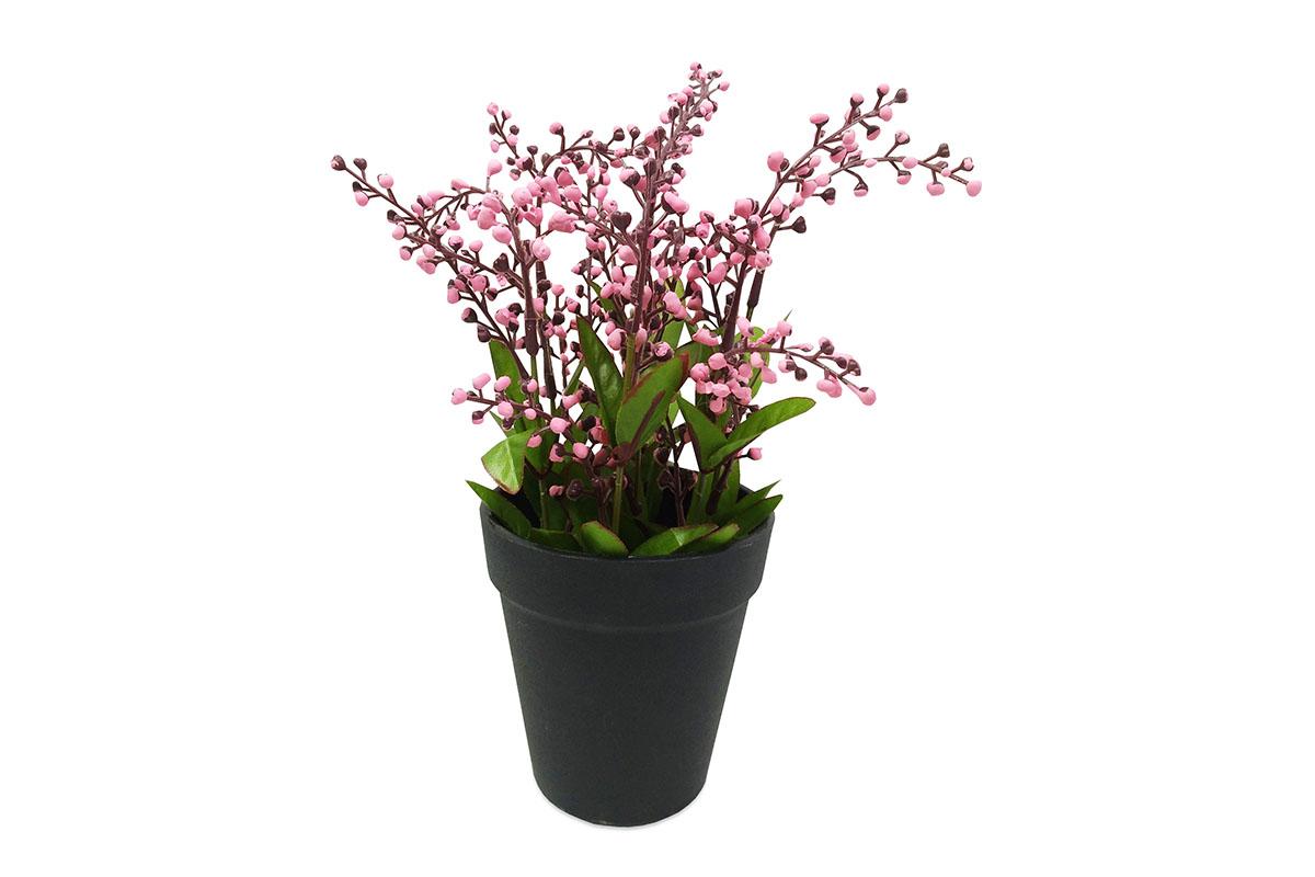 Vřes , umělá květina v plastovém květináči, barva růžová