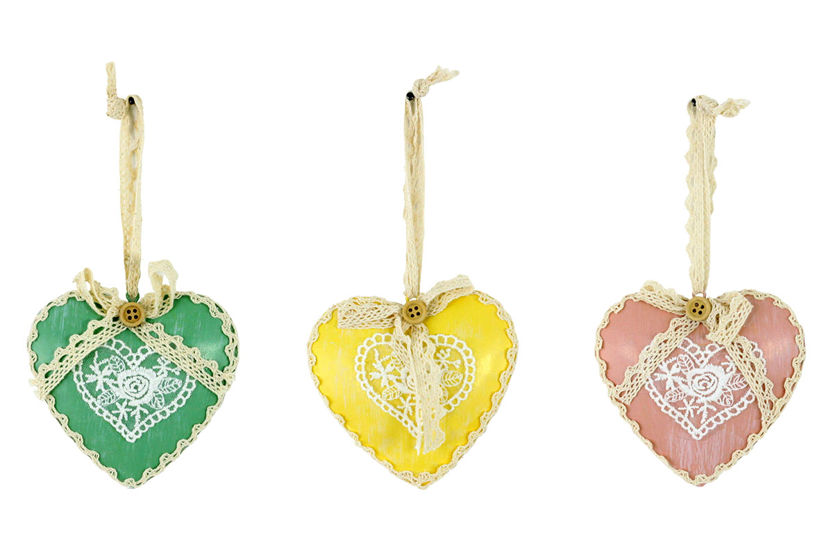 Srdce kovové, mix barev (růžová,žlutá,zelená)