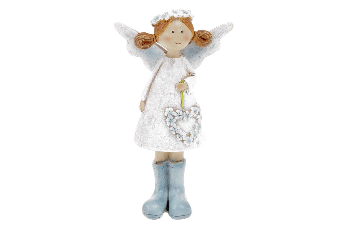 Víla s levandulovým srdcem, bílé šaty, stojící, polyresin.