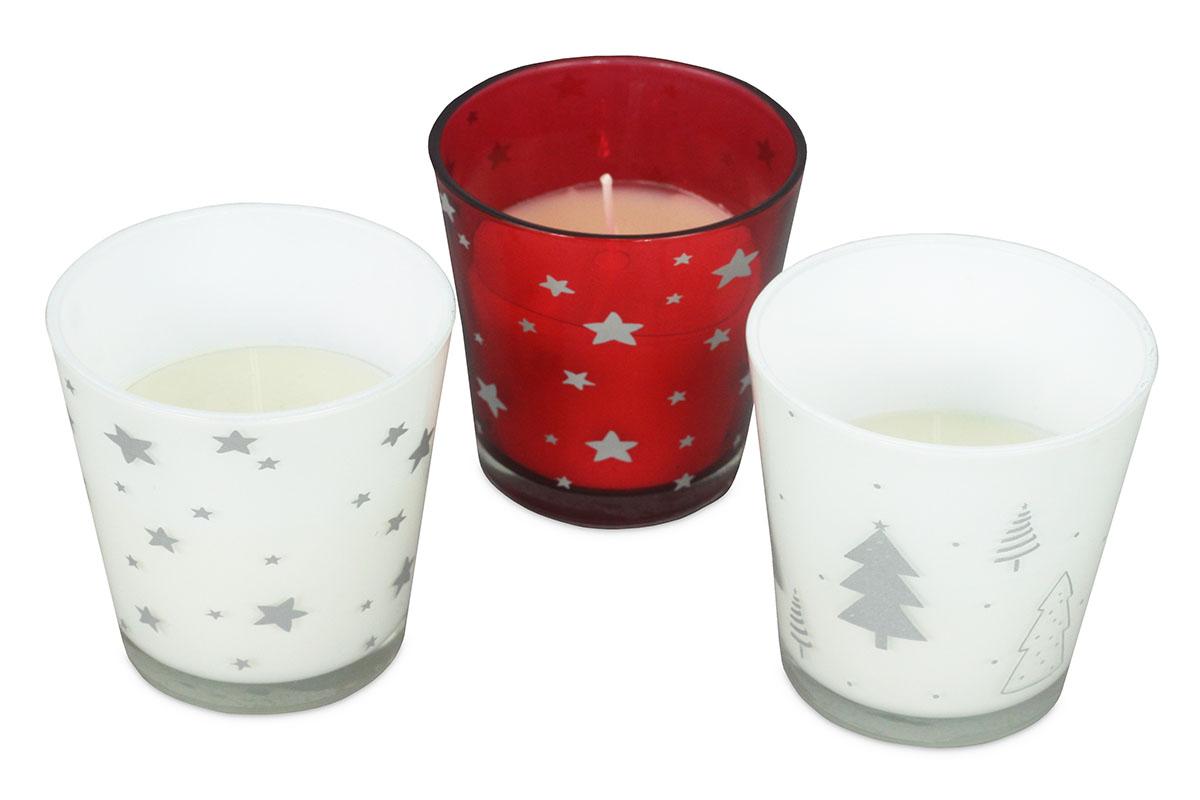 Vonná sviečka v skle s vianočným vzorom, 78g vosku, mix vôní, cena za 1 ks
