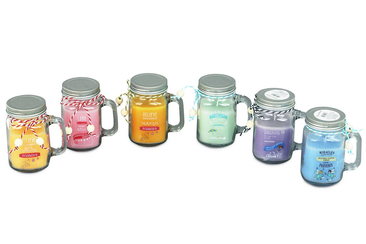 Svičeka vonná v skle, 180g vosku, mix 6 vôní, cena za 1 kus