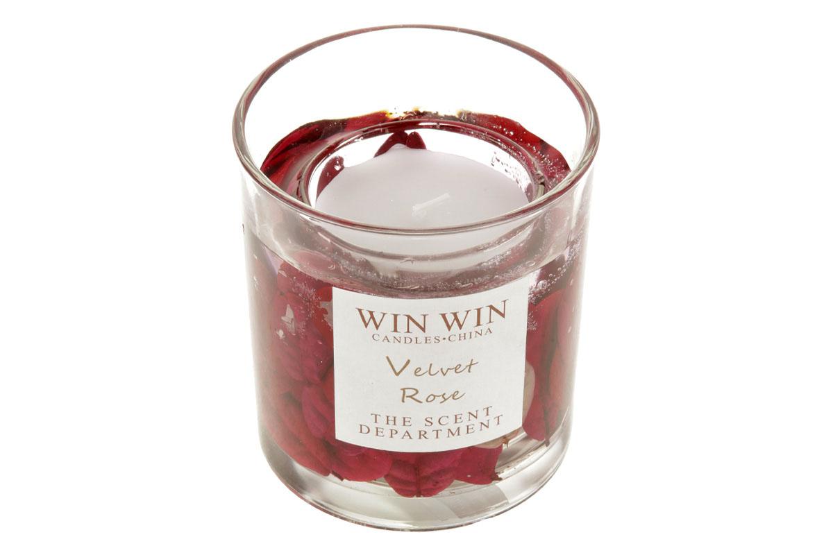 Svíčka ve skle, růže jako dekorace, 75g vosku.