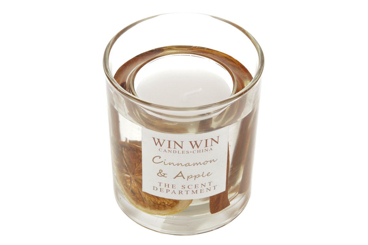 Svíčka ve skle, skořice jako dekorace, 75g vosku.