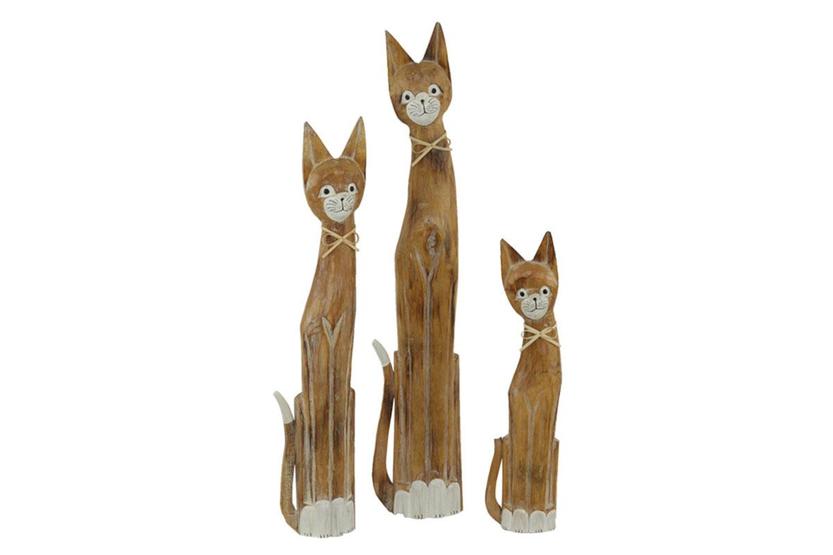 Dřevořezba - kočka set 3ks