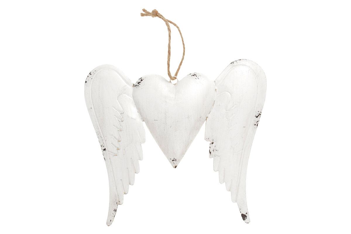 Křídla se srdíčkem, kovová dekorace na zavěšení, barva bílá antik