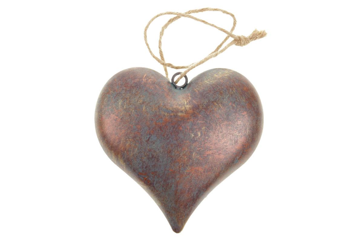 Srdíčko, kovová dekorace na zavěšení, antik měděná barva