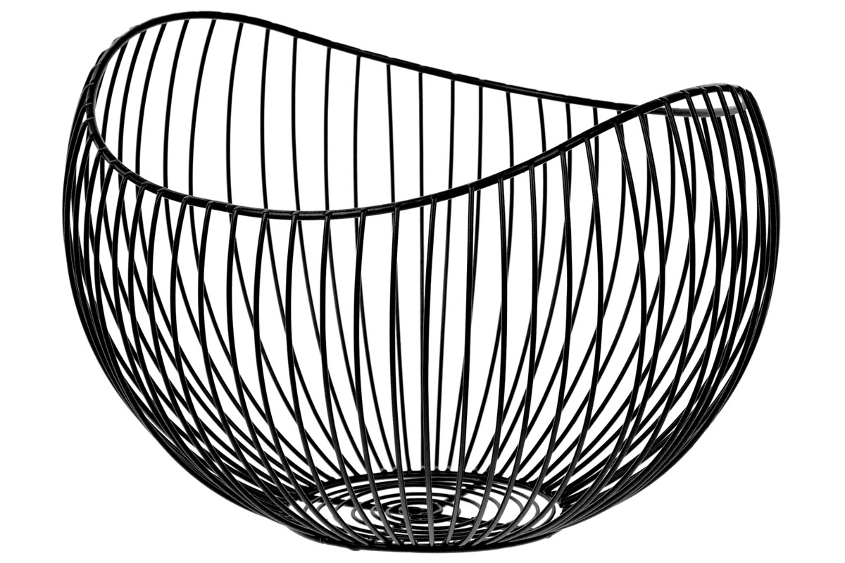 Košík, kovová dekorace, barva černá , velký ze sady  2 kusy