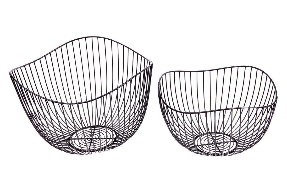 Košík,  kovová dekorace, sada 2 kusy