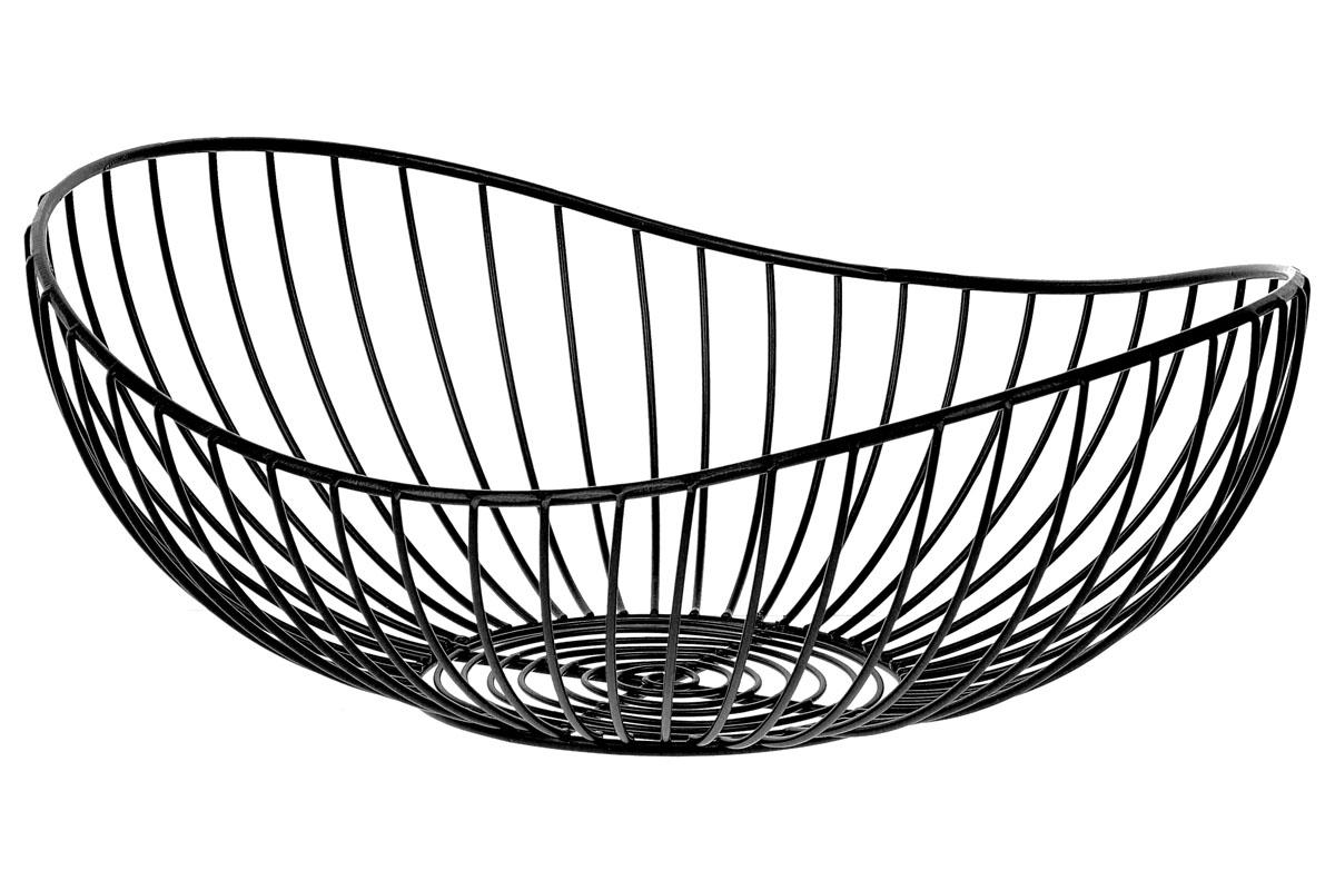 Košík, kovová dekorace, barva černá , malý ze sady  2 kusy