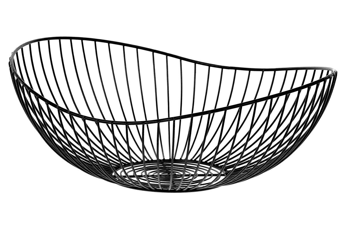 Košík, kovová dekorace, barva černá, velký ze sady  2 kusy