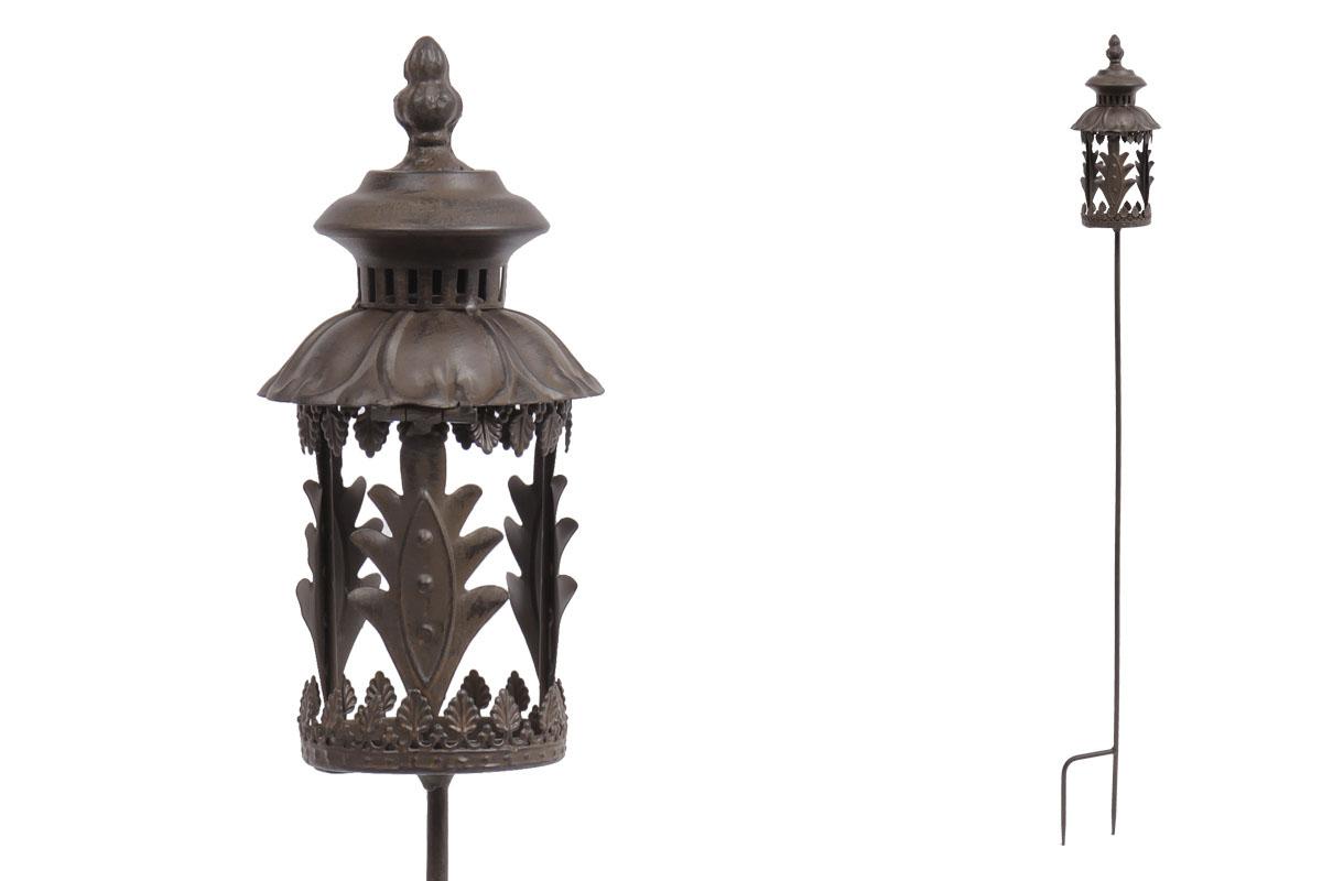 Svícen, kovová dekorace na zapíchnutí  do zahrady s vnitřním sklem