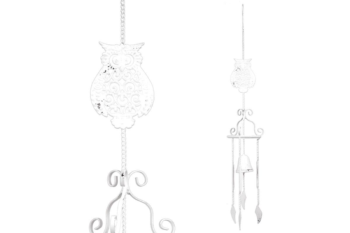 Zvonkohra se sovou, kovová dekorace na zavěšení, antik bílá barva.
