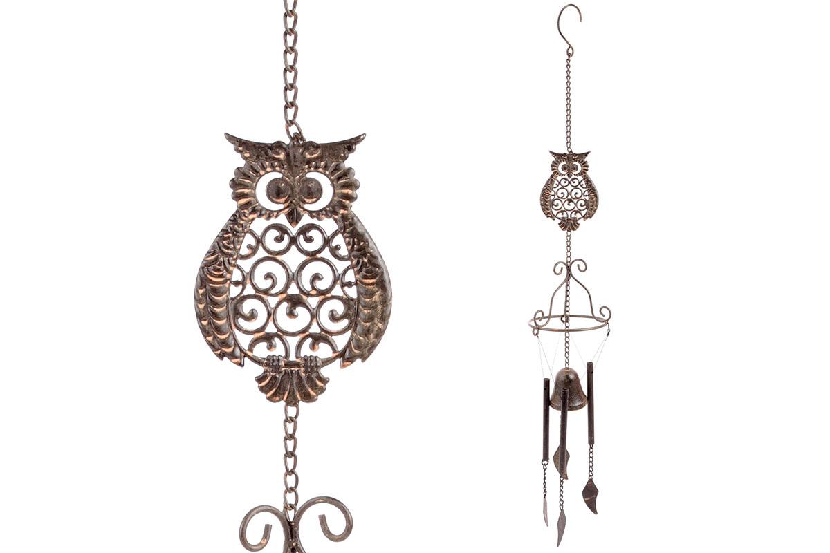 Zvonkohra se sovou, kovová dekorace na zavěšení, antik měděná barva