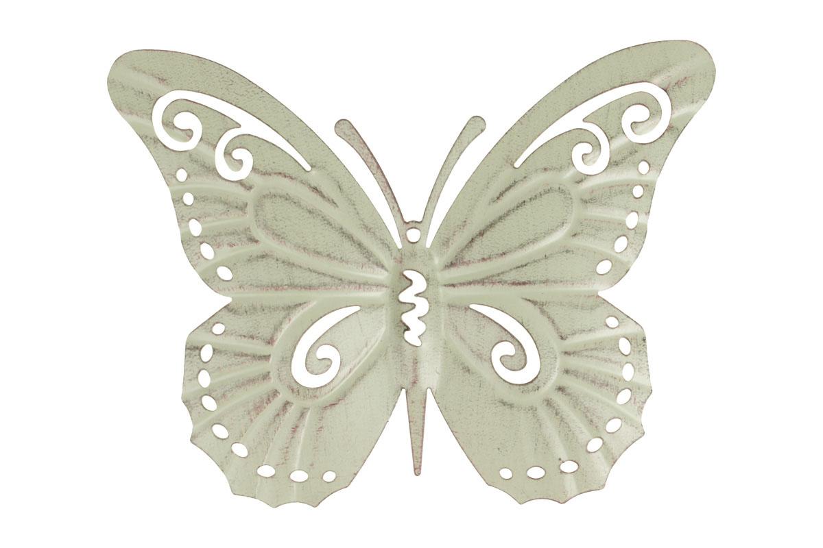 Motýl, kovová dekorace na zavěšení,  barva zelená antik