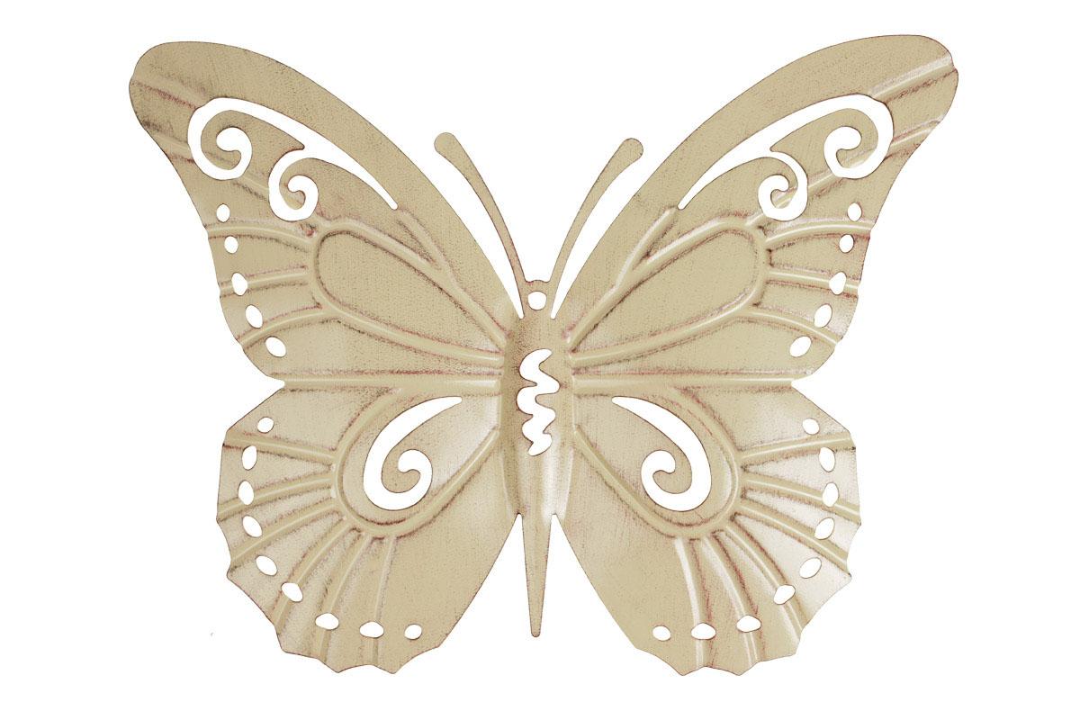 Motýl, kovová dekorace na zavěšení, barva žlutá antik