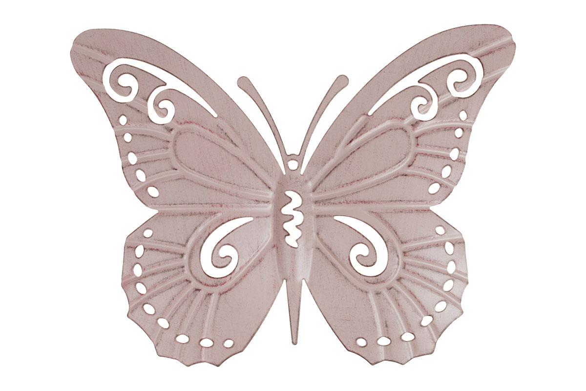 Motýl, kovová dekorace na zavěšení,  barva růžová antik